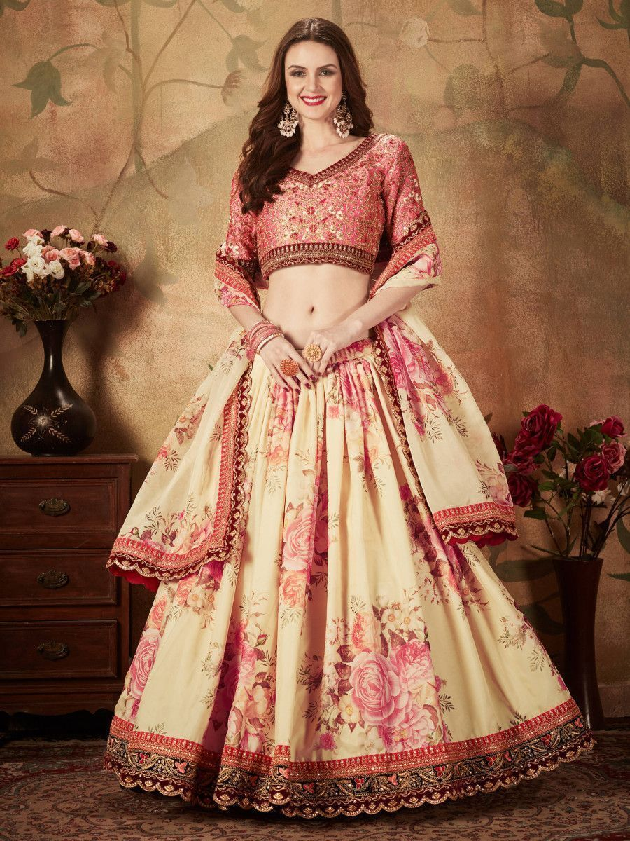 Off White Floral Digital Printed Organza Bridal Lehenga Choli