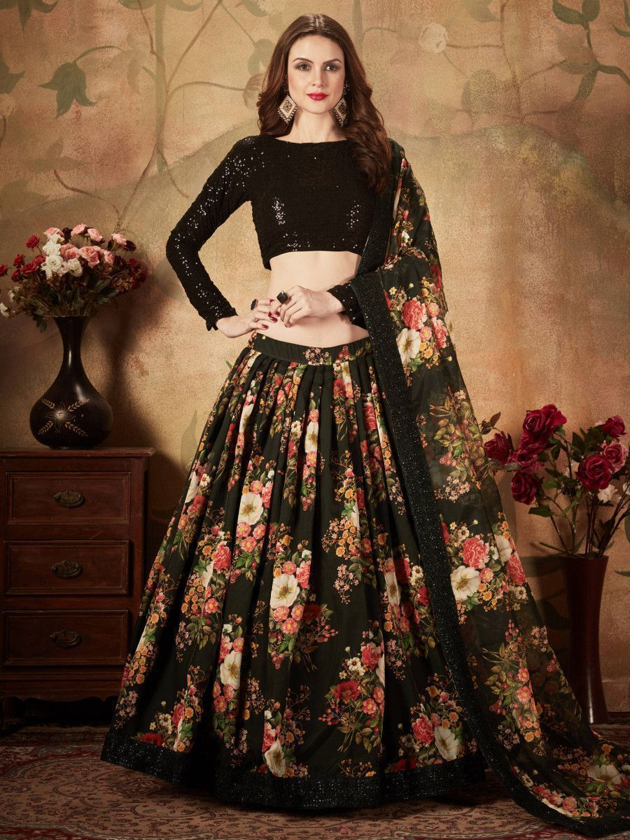 Black Floral Digital Printed Organza Party Wear Lehenga Choli