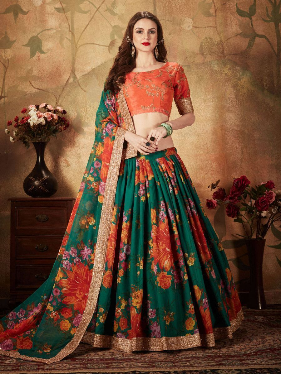 Green Floral Digital Printed Organza Bridal Lehenga Choli