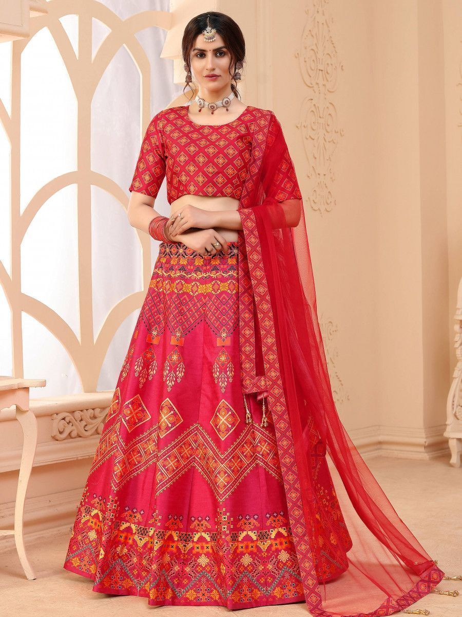 Pink Digital Printed Art Silk Festive Wear Lehenga Choli