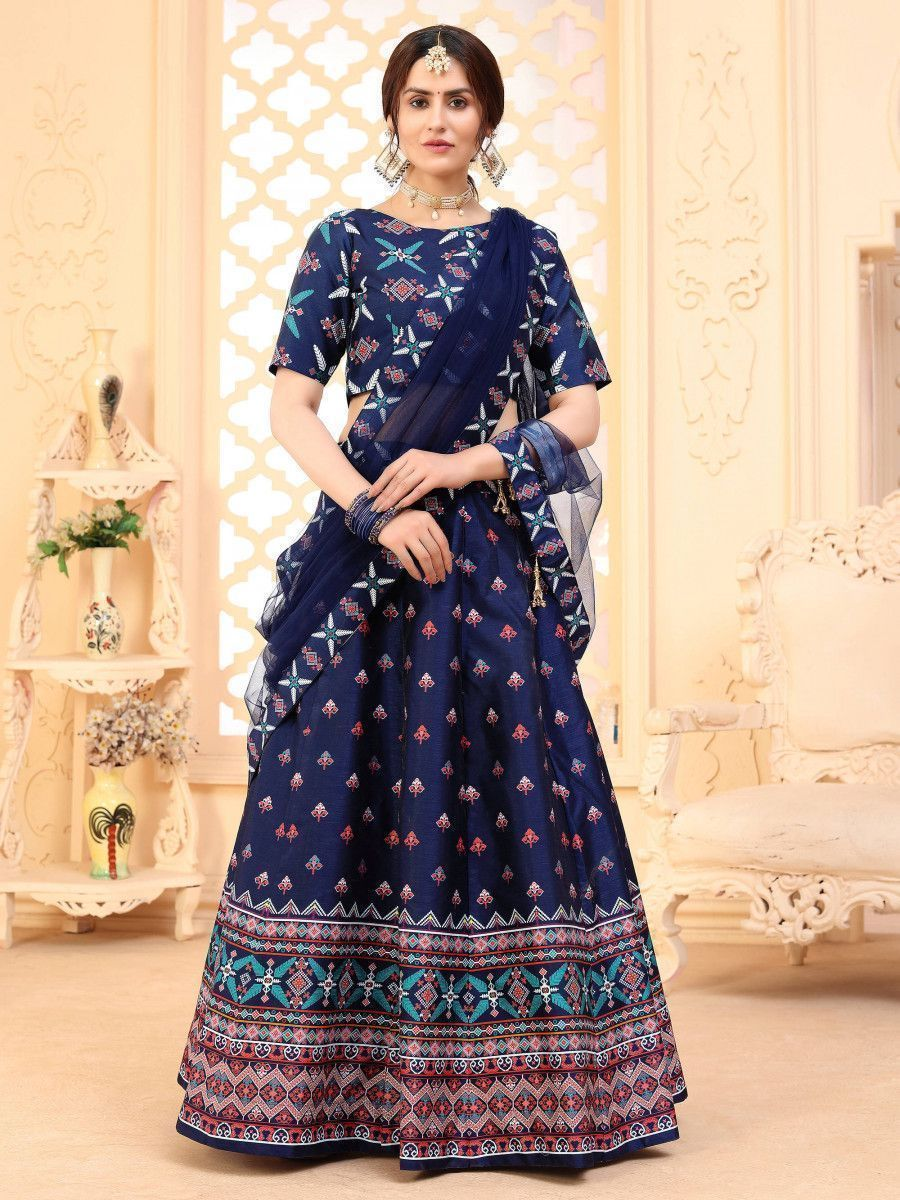 Navy Blue Digital Printed Art Silk Festive Wear Lehenga Choli