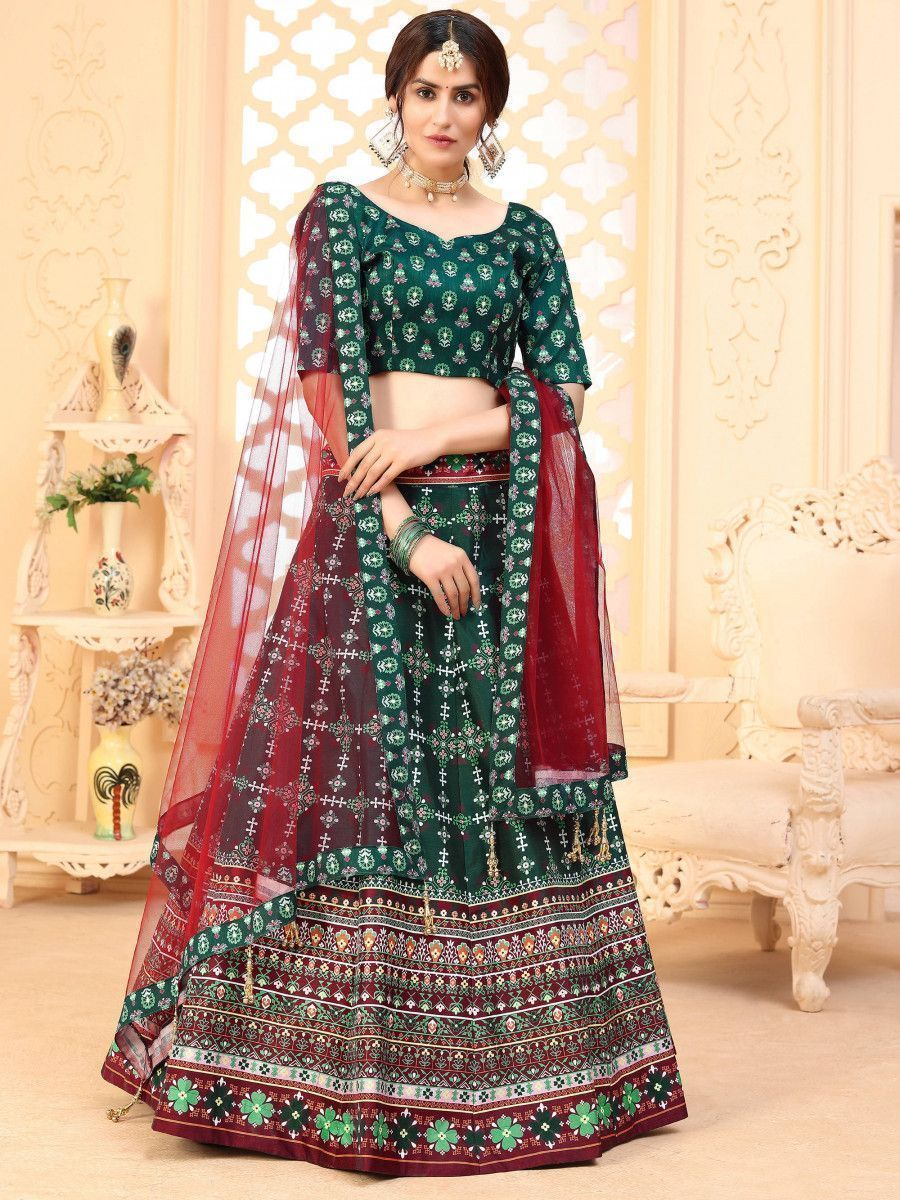 Green Digital Printed Art Silk Festive Wear Lehenga Choli