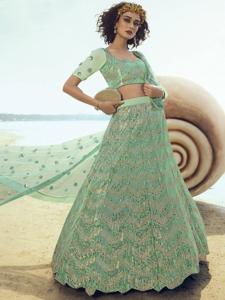 Light Green Zig-zag Sequins Work Party Wear Lehenga Choli With Dupatta