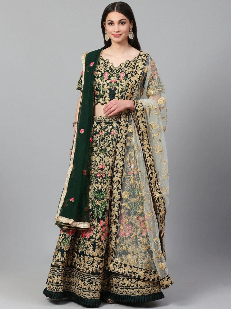 Green & Gold-Toned Embroidered Semi-Stitched Myntra Wedding Lehenga & Unstitched Blouse with Dupatta
