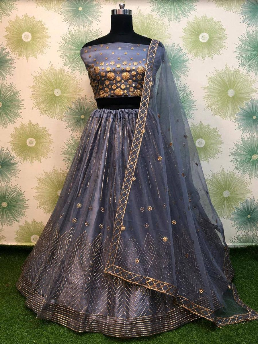 Grey Badla Work Net Festive Wear Lehenga Choli