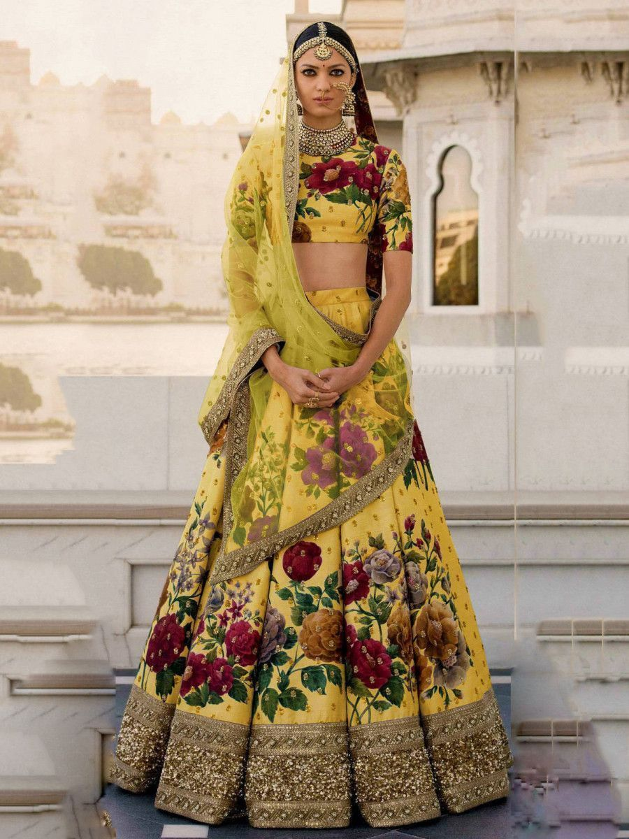 Yellow Floral Digital Printed Art Silk Bridal Lehenga Choli