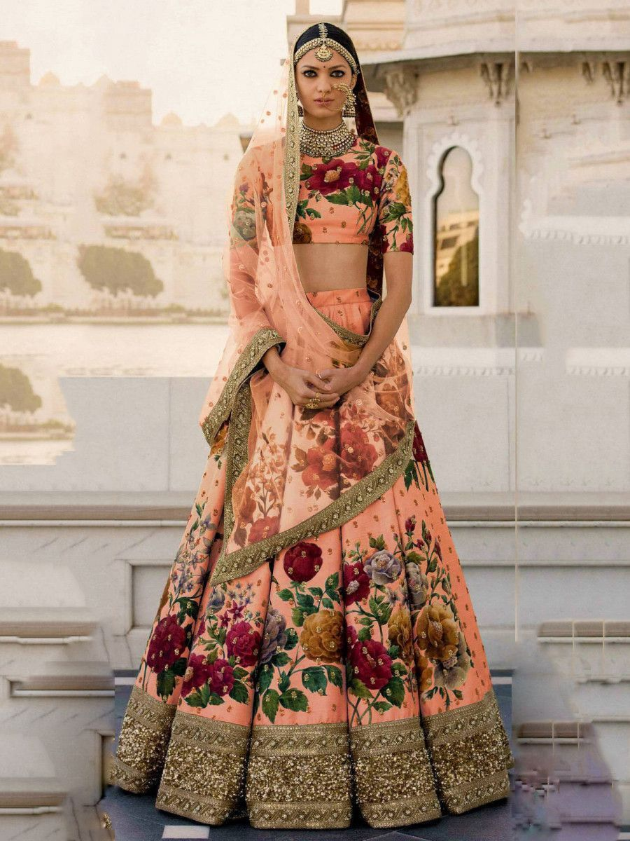Peach Floral Digital Printed Art Silk Bridal Lehenga Choli