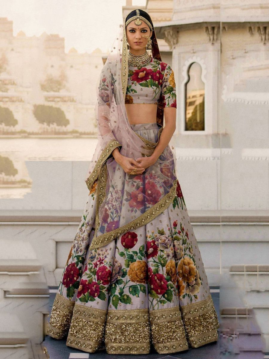 Sabyasachi Gray Floral Digital Printed Art Silk Bridal Lehenga Choli