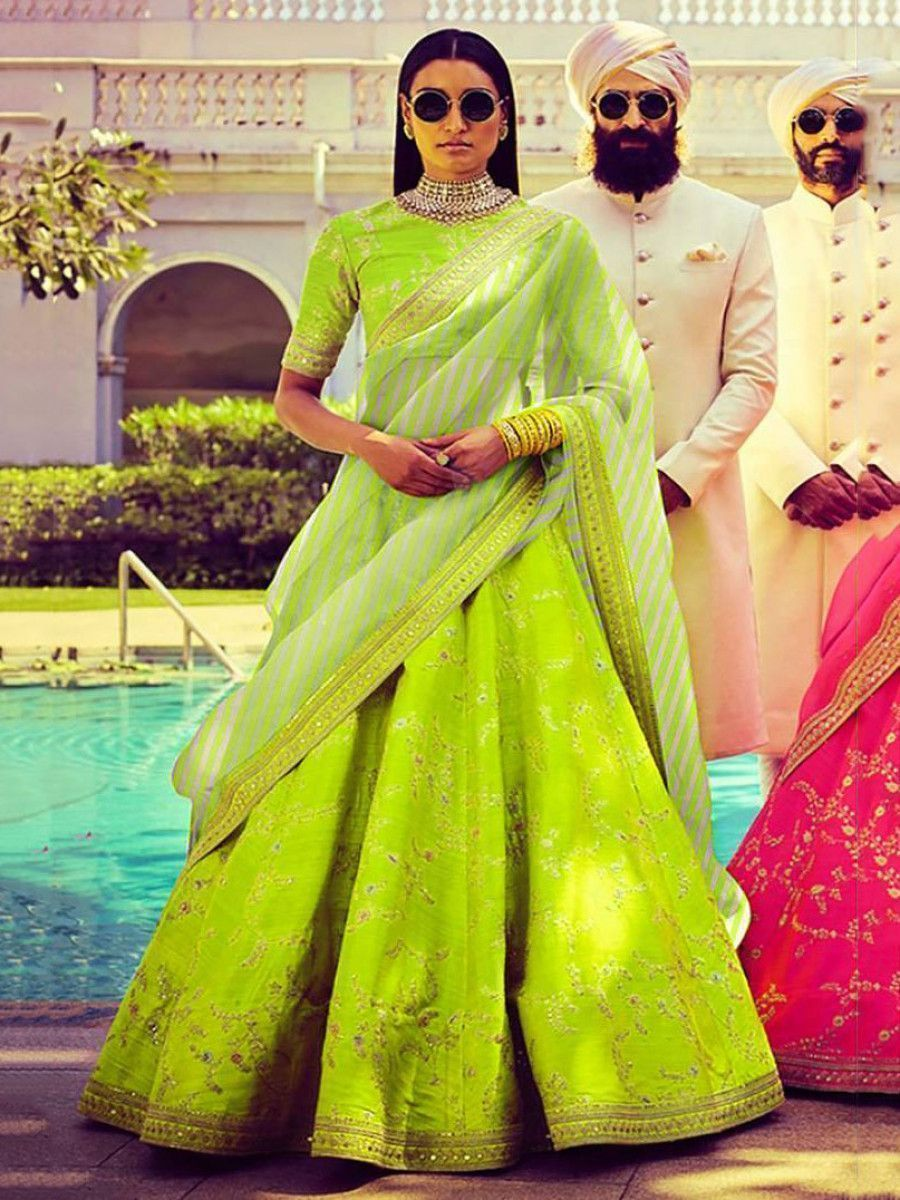 Neon Embroidery Mulberry Silk Wedding Lehenga Choli