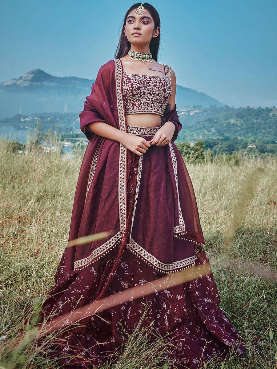 Wine Embroidered Georgette Wedding Wear Lehenga Choli