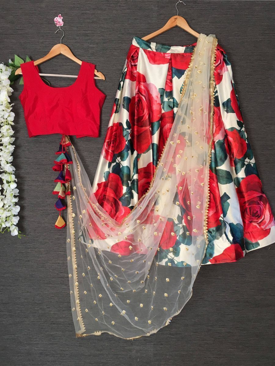 Red Rose Printed Party Wear Lehenga Choli With Dupatta