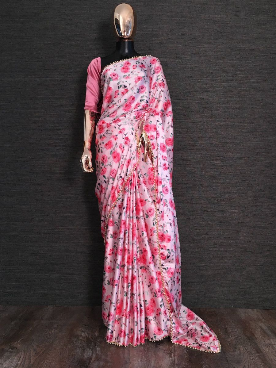 Pink Rose Digital Printed Satin Casual Wear Saree
