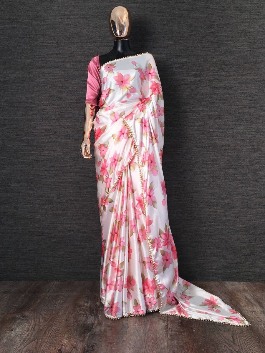 White Floral Digital Printed Satin Casual Wear Saree