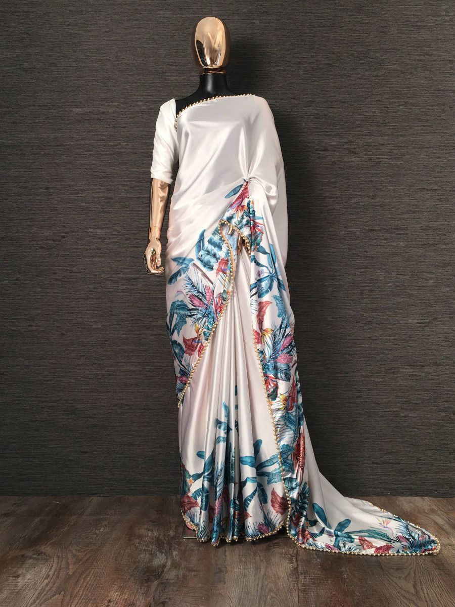White Blue Digital Printed Satin Casual Wear Saree