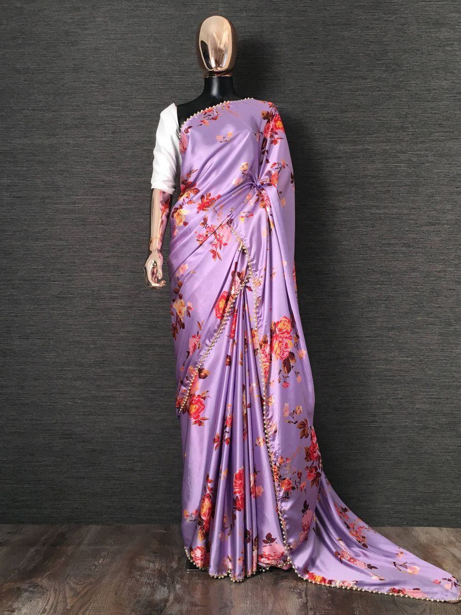 Purple Floral Digital Printed Satin Casual Wear Saree