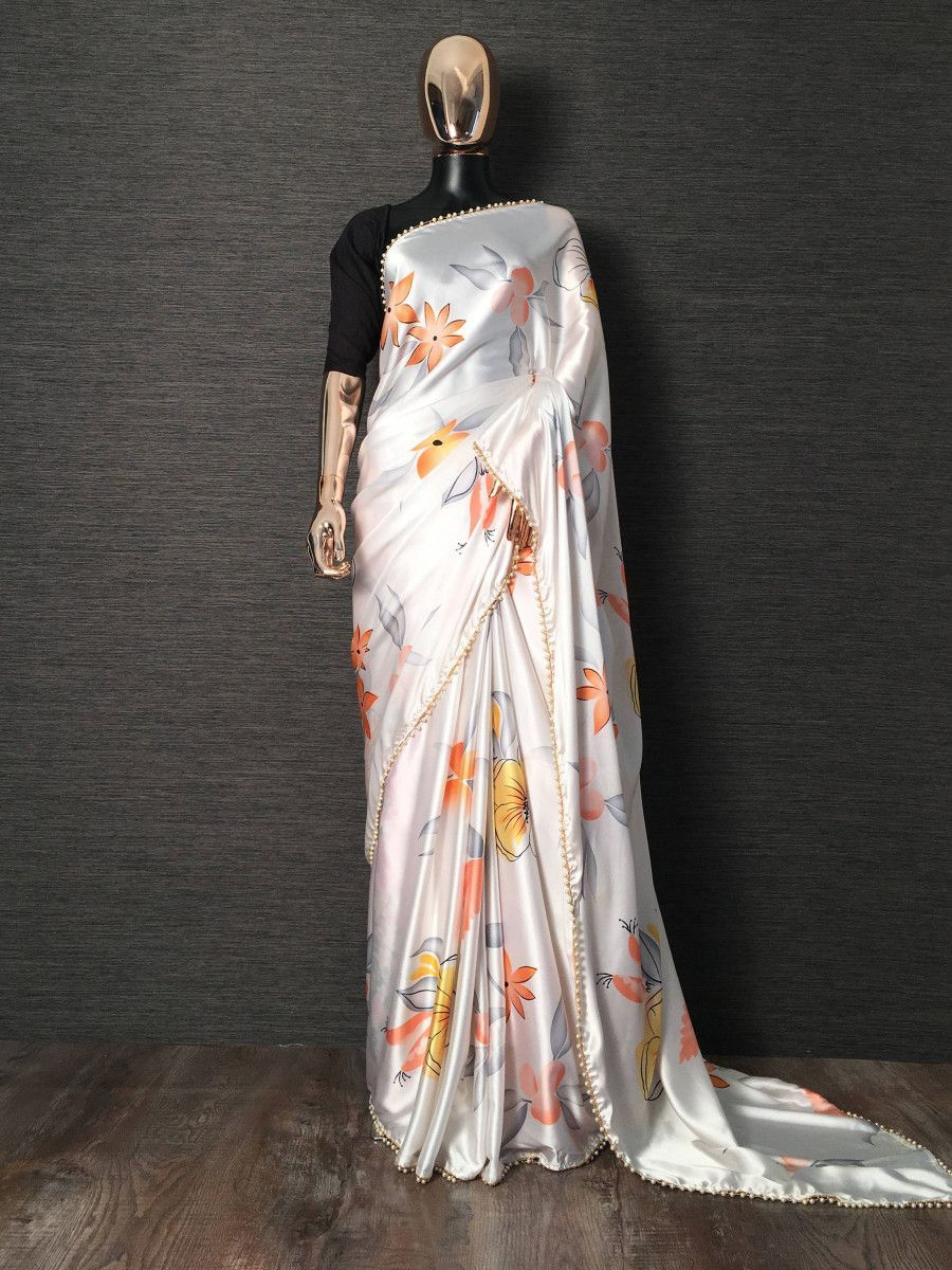 White Floral Printed Satin Silk Casual Wear Saree