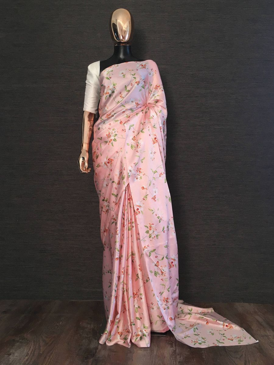 Pink Floral Digital Printed Satin Casual Wear Saree