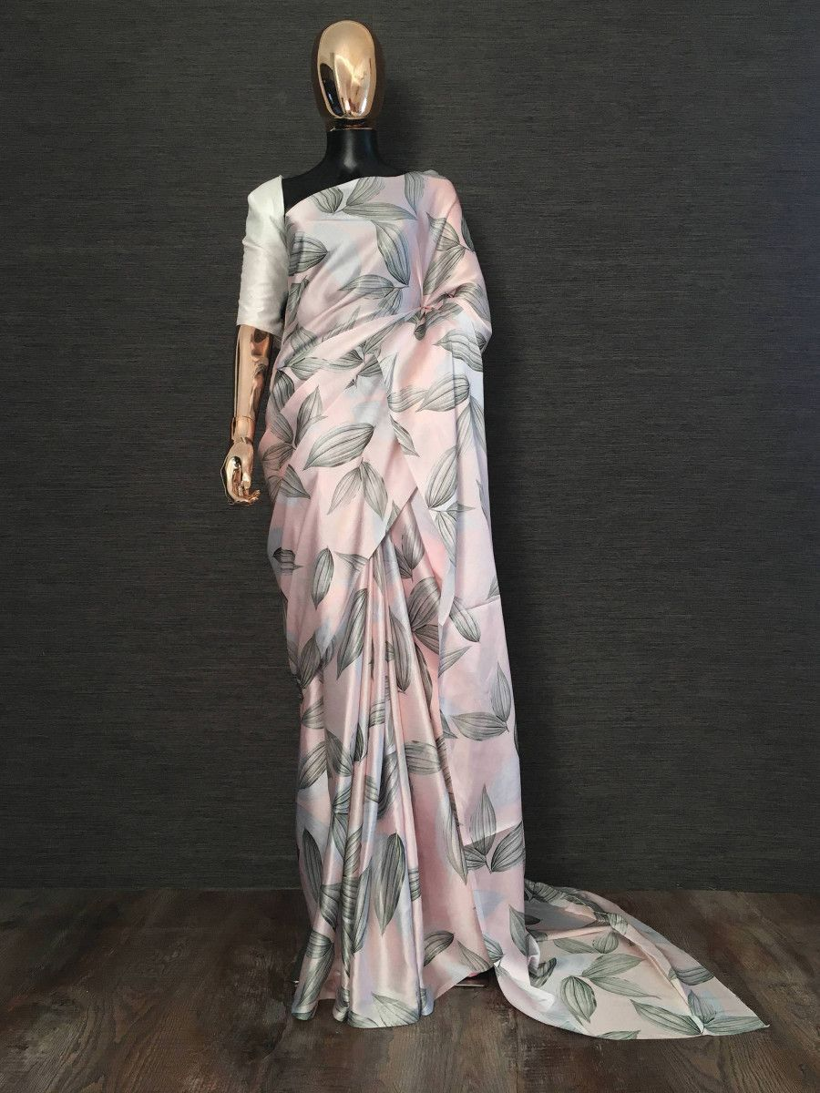Pink Digital Printed Satin Silk Casual Wear Saree