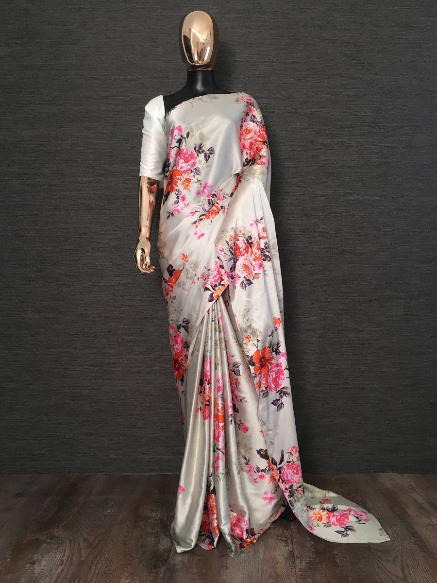 Off White Floral Digital Printed Satin Casual Wear Saree