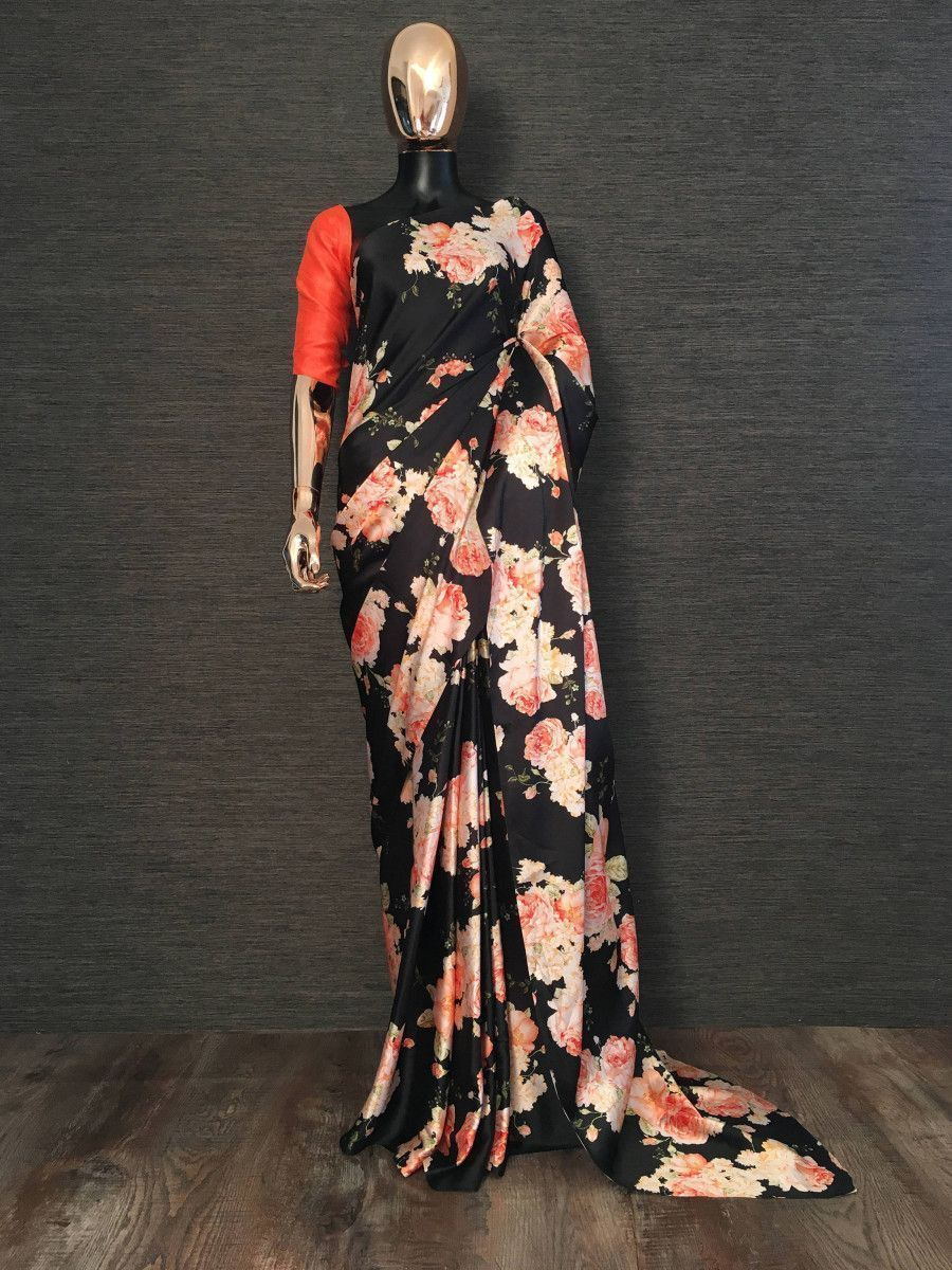 Black Floral Digital Printed Satin Casual Wear Saree