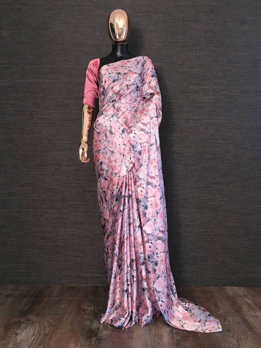 Pink Rose Printed Satin Silk Party Wear Saree