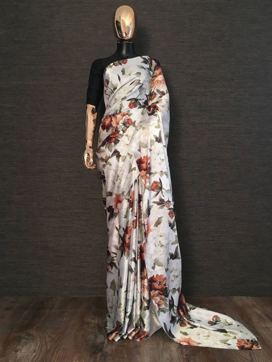 White Floral Digital Printed Japan Silk Saree With Black Blouse