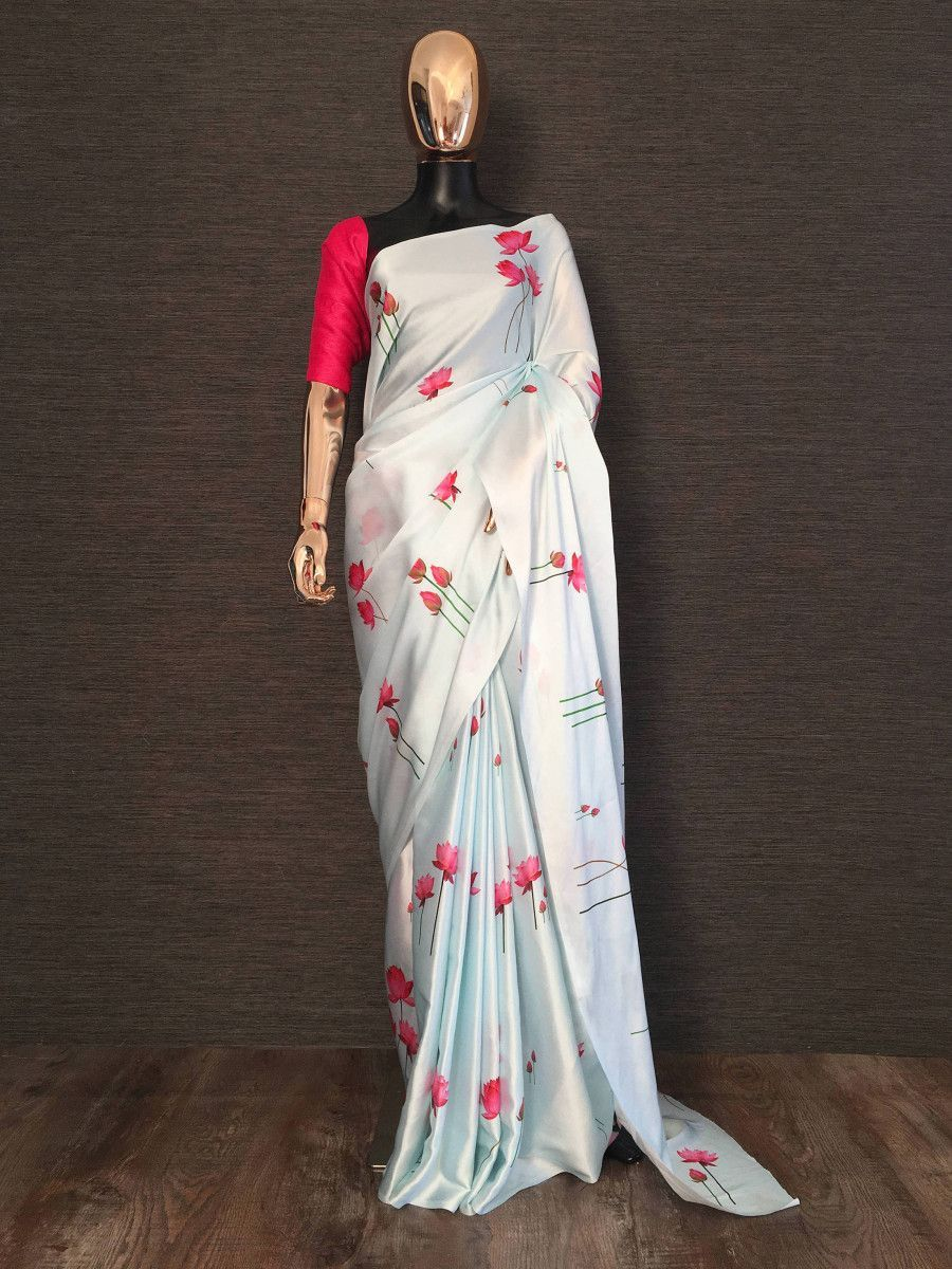 Light Blue Lotus Floral Printed Satin Silk Casual Wear Saree