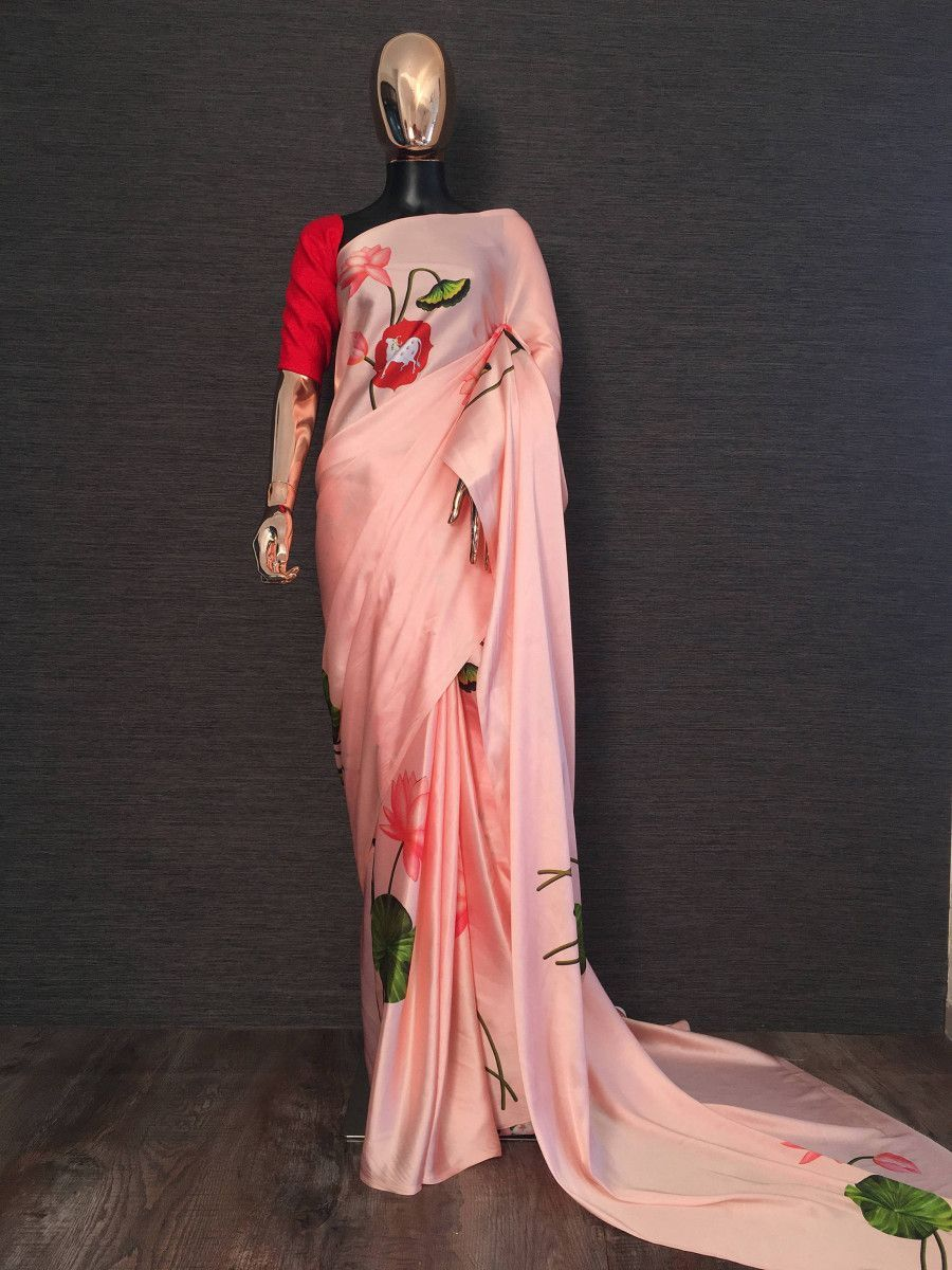 Peach Floral Digital Printed Satin Casual Wear Saree