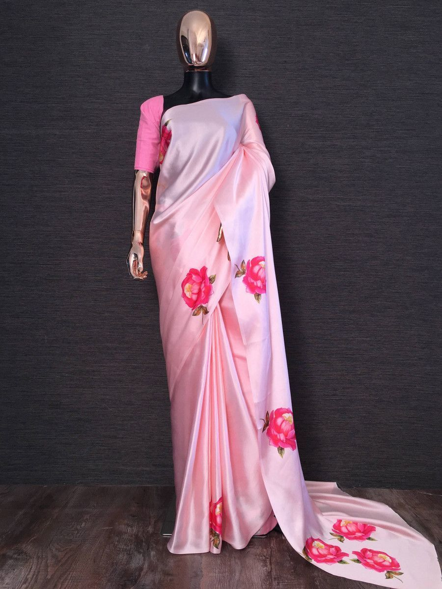 Pink Rose Flower Printed Japan Satin Silk Festival Wear Saree