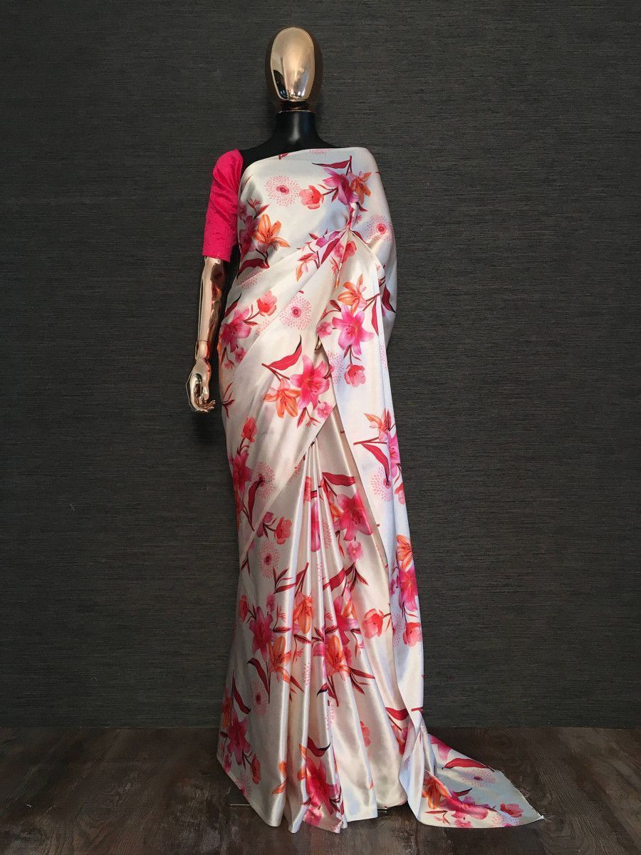 White Floral Digital Printed Party Wear Saree With Pink Blouse
