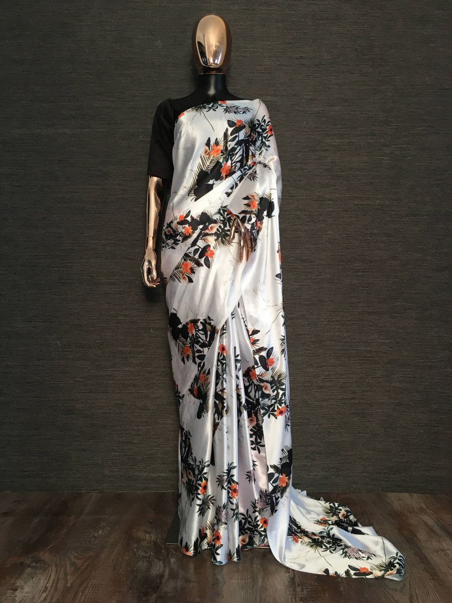 Black And White Floral Printed Satin Silk Party Wear Saree
