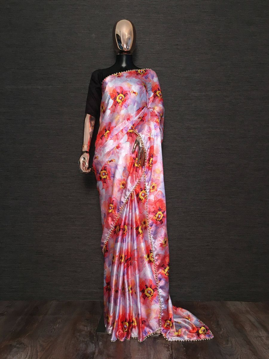 Multi-Color Floral Japan Silk Saree With Black Blouse