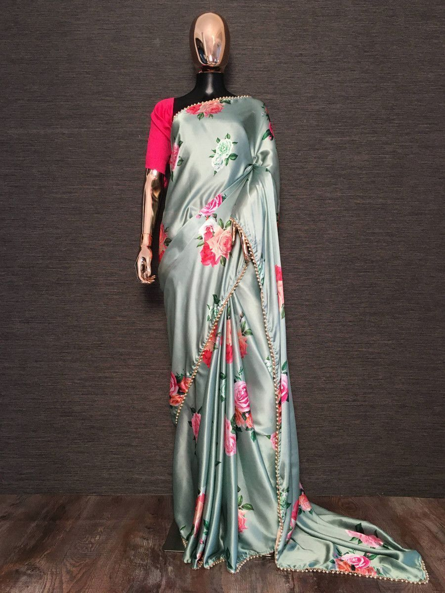 Grey Floral Printed Pearl Lace Satin Silk Party Wear Saree