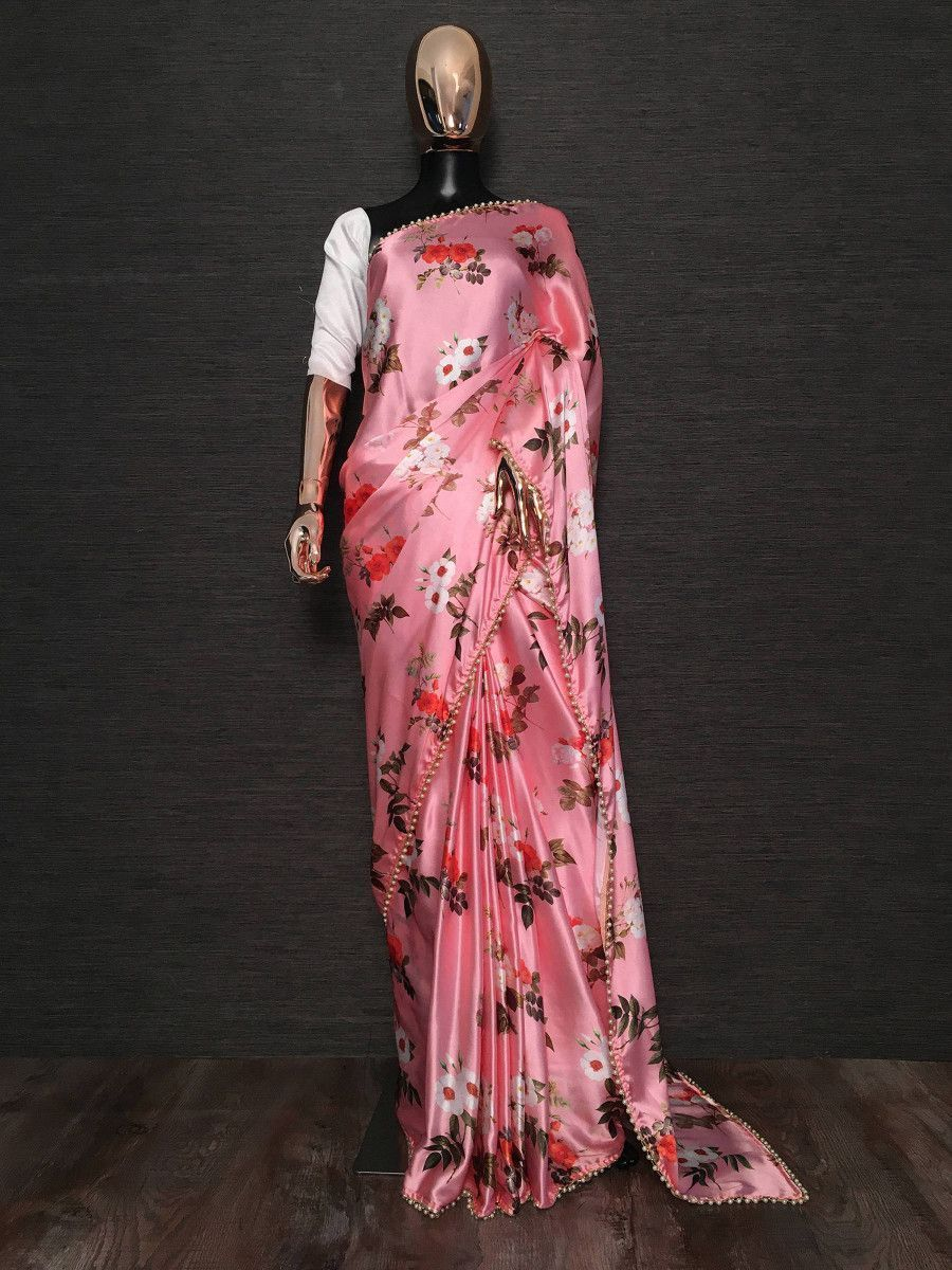 Pink Floral Printed Pearl Lace Satin Silk Party Wear Saree