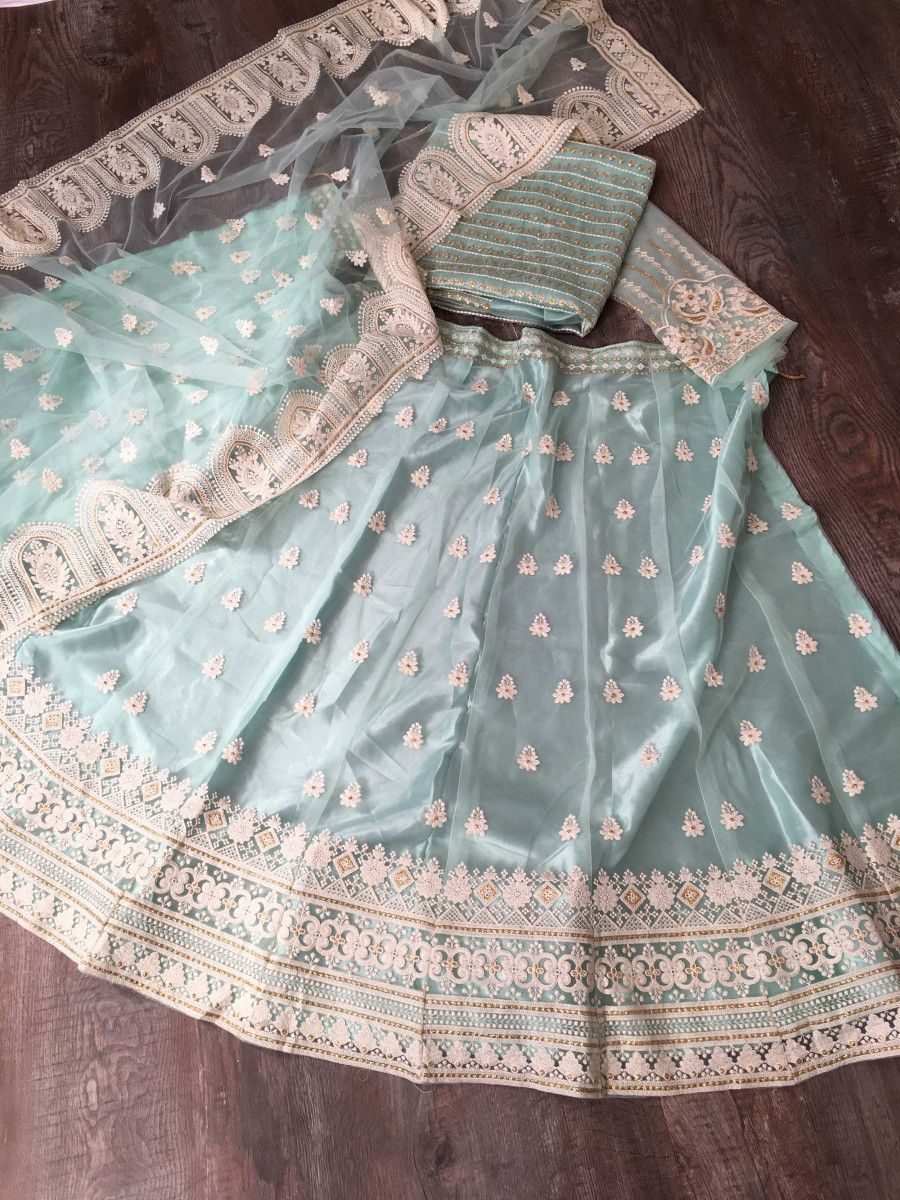 Sky Blue Lucknowi Work Net Wedding Wear Lehenga Choli