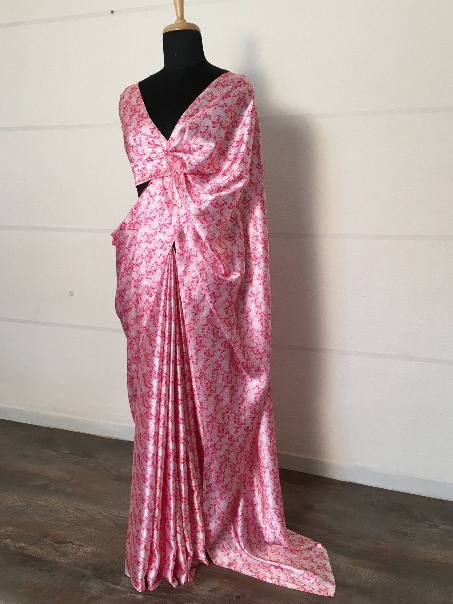 Pink Rose Floral Printed Japan Satin Silk Saree With Blouse