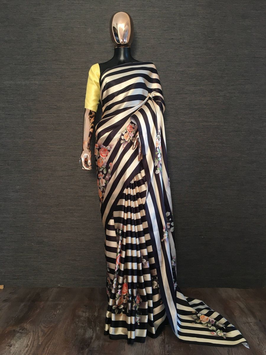 Black Striped Floral Satin Silk Party Wear Saree With Yellow Blouse