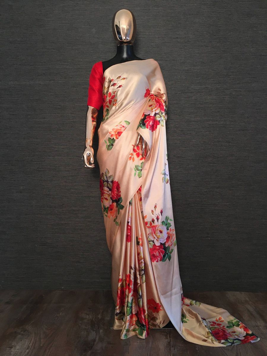Peach Floral Satin Festival Wear Saree With Red Blouse