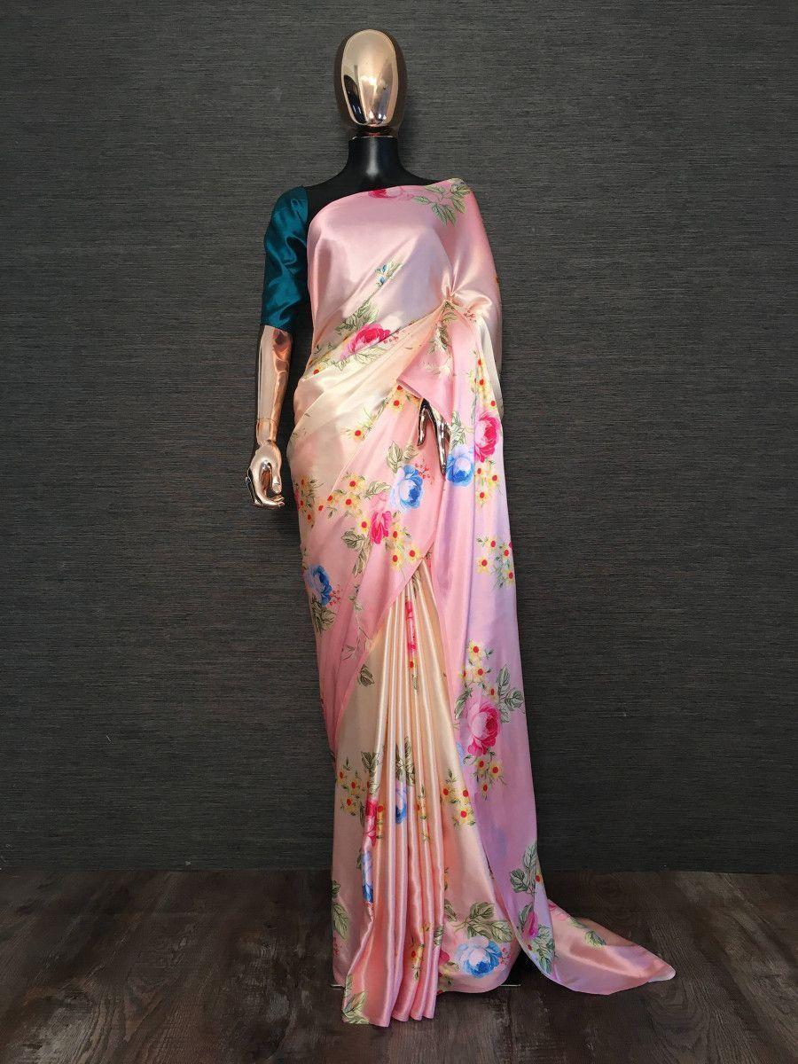 Pink-Cream shaded Floral Satin Festive Saree With Blouse