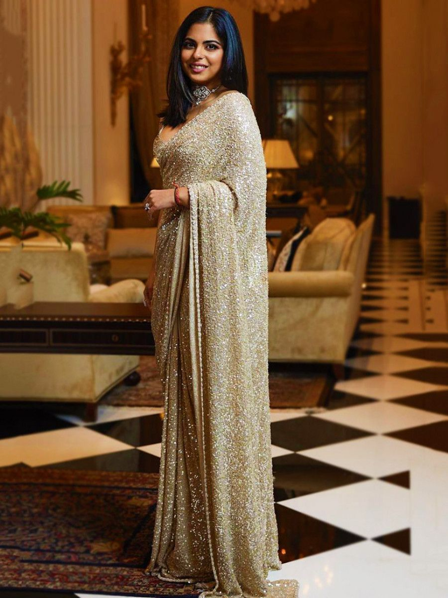 Sabyasachi Golden Sequins Georgette Party Wear Saree With Blouse