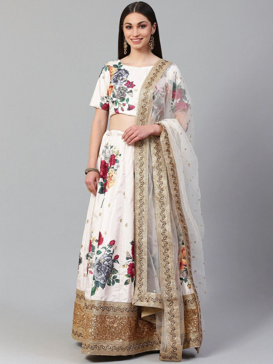 Off-White & Red Printed Semi-Stitched Myntra Lehenga & Unstitched Blouse with Dupatta