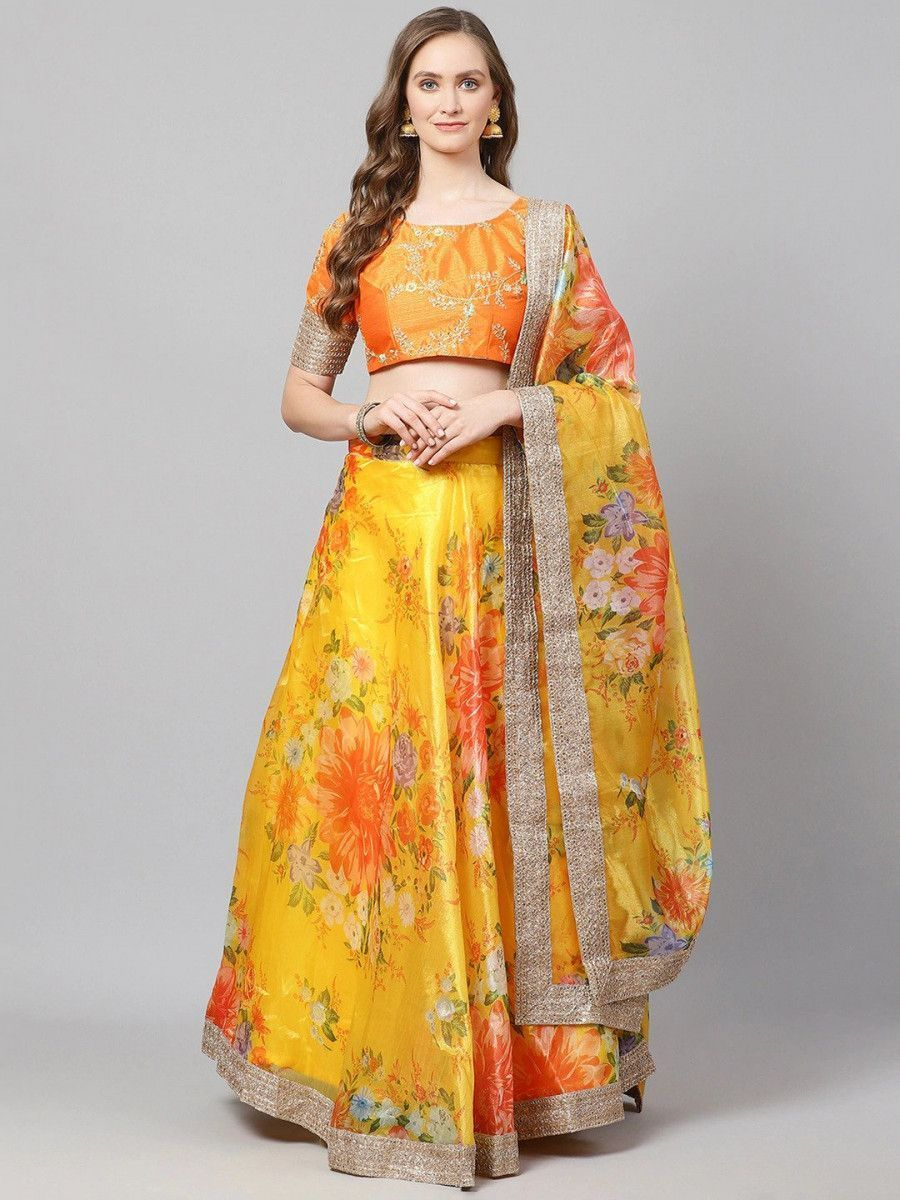 Yellow & Orange Printed Semi-Stitched Myntra Lehenga & Unstitched Blouse with Dupatta