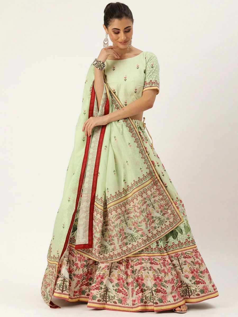 Sea Green & Maroon Printed Myntra Lehenga & Blouse with Dupatta