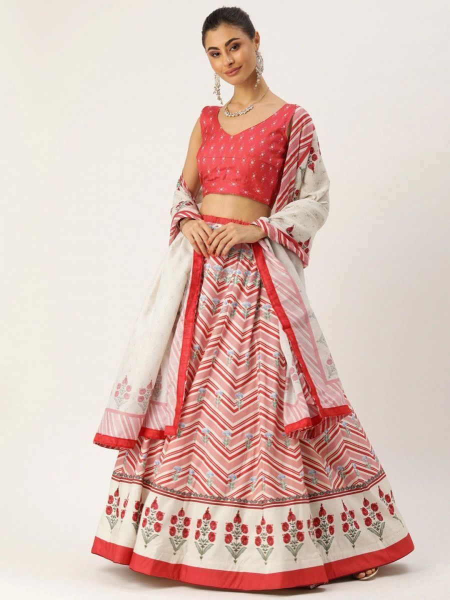 Red & White Printed Myntra Lehenga & Choli with Dupatta