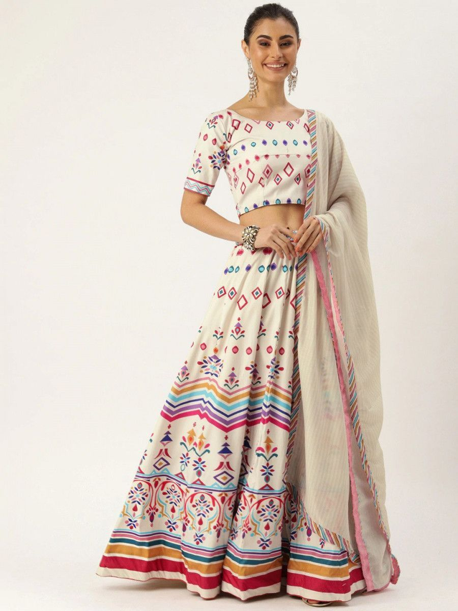 Off-White & Pink Printed Myntra Lehenga & Blouse with Dupatta