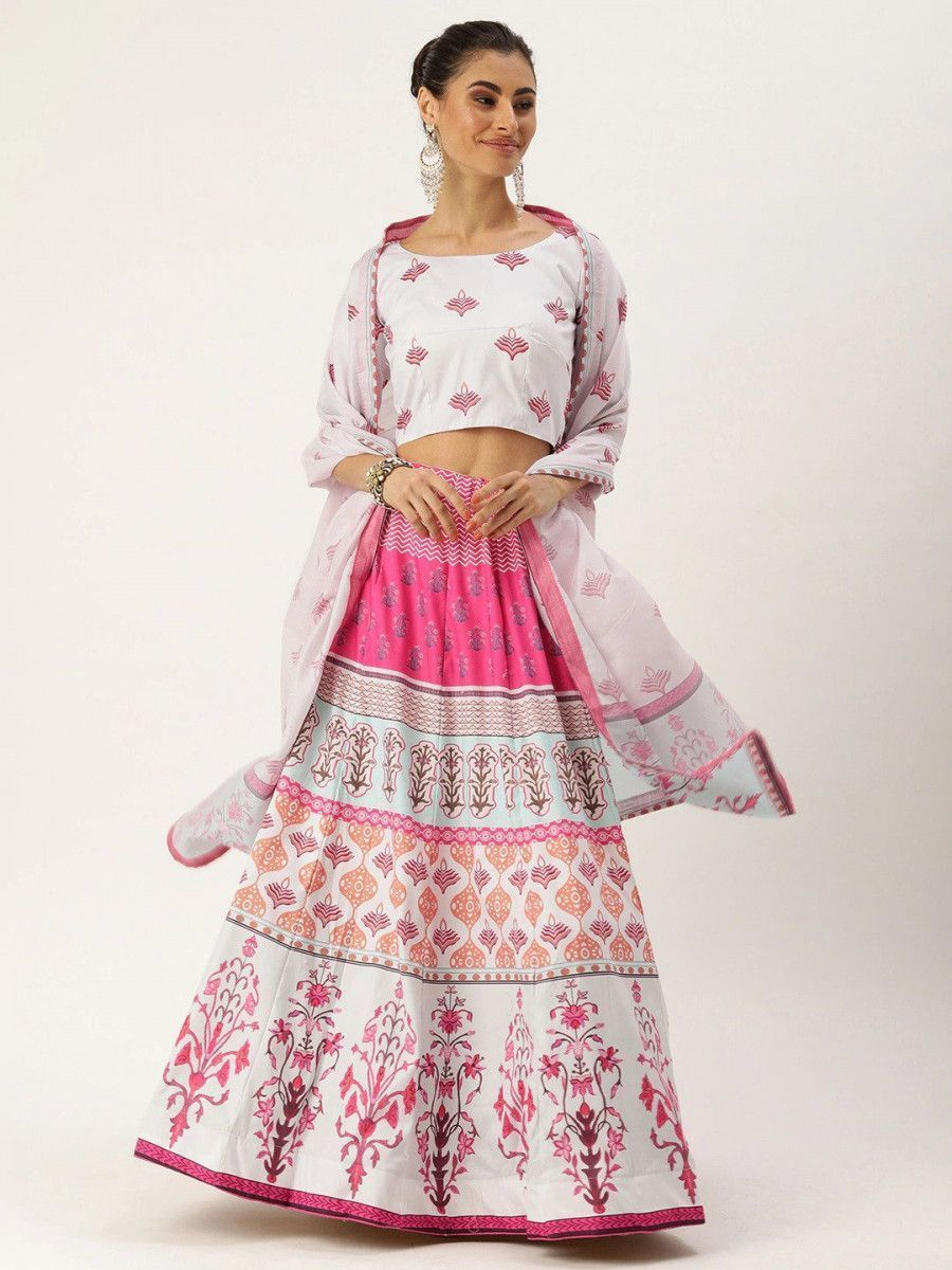 White & Pink Printed Myntra Lehenga & Blouse with Dupatta