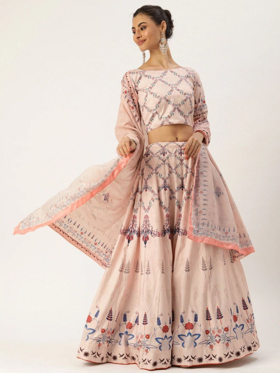 Peach-Coloured & Blue Printed Myntra Lehenga & Blouse with Dupatta