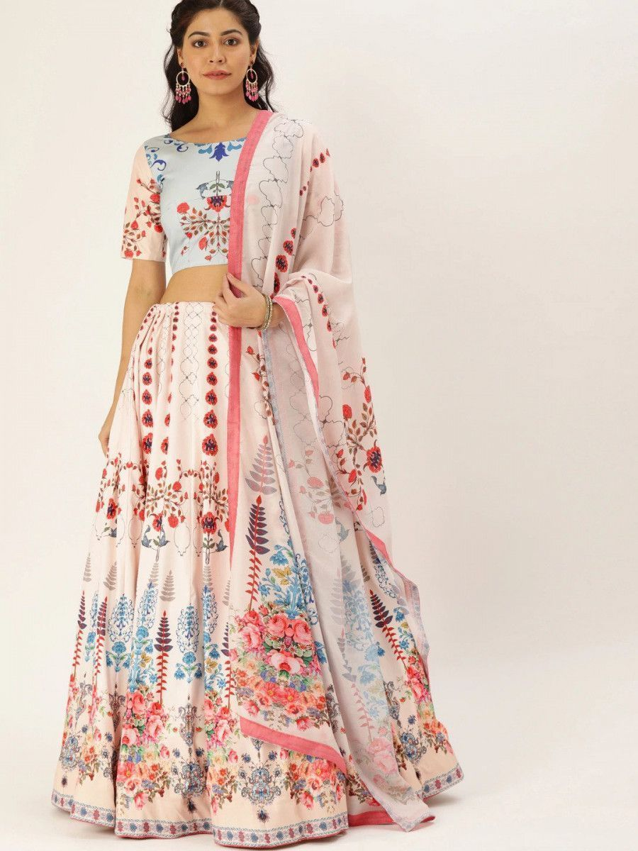 Pink & Multicoloured Printed Myntra Lehenga & Blouse with Dupatta