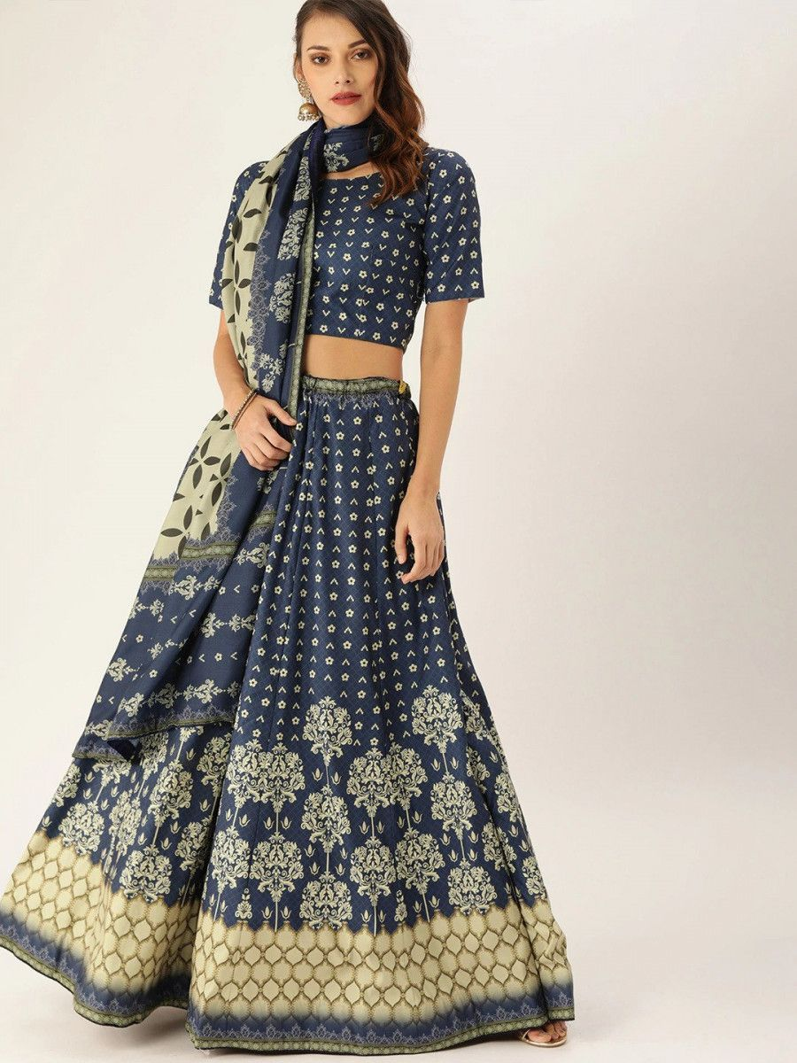 Blue & Beige Printed Myntra Lehenga & Blouse with Dupatta