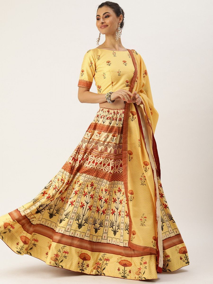 Yellow & Maroon Printed Myntra Lehenga & Blouse with Dupatta